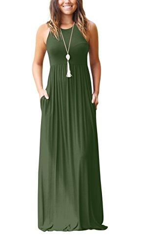 ZIOOER Damen Casual Lose Maxikleider Ärmellos Kleider Lange Kleid mit Taschen Grün XL