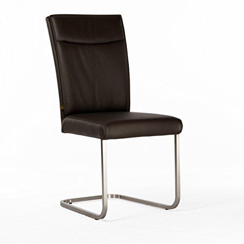 Lederstuhl Freischwinger Rindsleder Braun Edelstahl gebürstet Stuhl Stühle