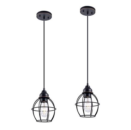 YaoKuem - Lámpara de techo colgante con acabado de bronce aceitado, luces colgantes con una base media máx. 60 W, bombillas no incluidas, paquete de 2