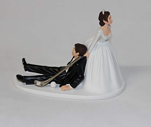 Wedding Party Reception Golf Golfer Clubs Dark Hair Couple Cake Topper