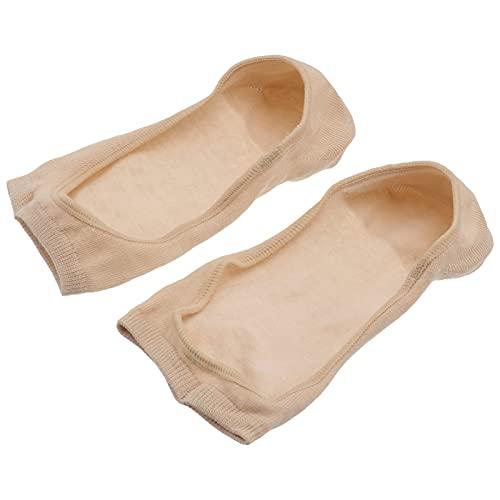 Holibanna Mujeres Peep Toe Calcetines de Algodón Antideslizantes Calcetines de Yoga de Verano Calcetines Invisibles de Moda de Escocia Antideslizante Talón Agarre para Mujer Color de Piel