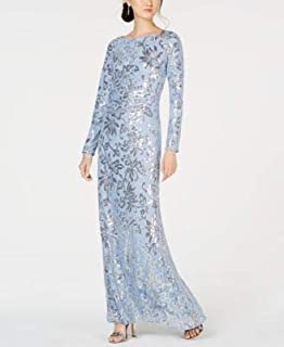 VINCE CAMUTO Womens Blue Sequined Lace Gown Long Sleeve Jewel Neck Maxi Evening Dress US Size: 10