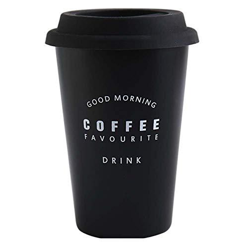 whbage Reisebecher 450ml lustige Schwarze Kaffeetassen Sonntag Kaffee gedruckt Wiederverwendbare Tassen mit Deckel Home Office Outdoor Travel Tee Kaffeetassen