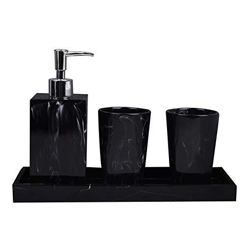 Conjunto de accesorios de baño, textura de mármol Suministros de baño Resina Accesorios de baño con dispensador Tenedor de cepillos de cepillo de cepillo de jabón Dispensador (Color: Negro, Tamaño: Gr