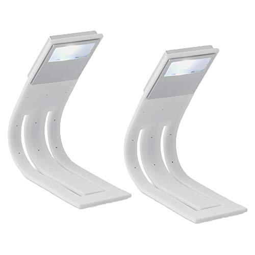 LED Leseleuchte mit flexiblem Arm Buchlampe auch als Lesezeichen verwendbar von notrash2003 (2er Set Weiß)