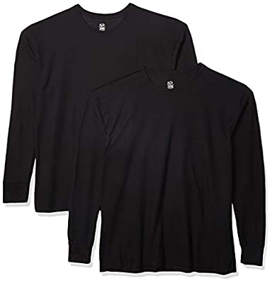 Fruit of the Loom Men's Classic Midweight Waffle Thermal Underwear Crew Top (1 & 2 Packs), Black/Black, 3X-Large Classic Midweight Waffle Thermal Underwear Crew Top, Black/Black (2-Pack), 3X-Large
