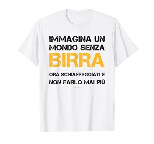 Uomo Mondo Senza Birra T Shirt Uomo Divertente Frasi Simpatiche Maglietta