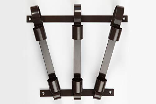 Fahnenhalter, langlebiges verzinktes Metall, für große und kleine Fahnen, Für 3 Flaggen (Braun)