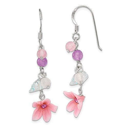 De Ágata Azul Topacio Rosa Cherry Juego de pendientes de diseño de flores de cuarzo - JewelryWeb