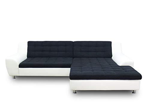 DOMO collection Morton Ecksofa, Sofa in L-Form, Eckcouch, Polstergarnitur mit Schlaffunktion, 304x200x84 cm in schwarz/weiß