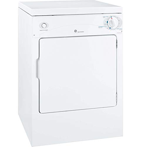 "GE DSKP333ECWW Spacemaker 24"" Portable Electric Dryer with 3.6 Cubic. Ft. Capacity"