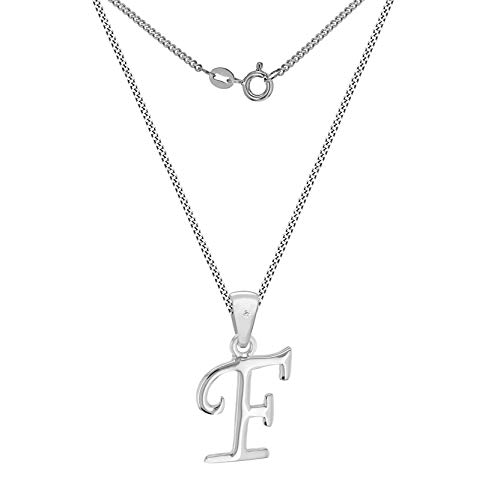 Tuscany Silver 8.44.7474 Cadena con colgante de plata, diamante (0.04), 46 cm, Letra F
