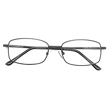 Blue Light Blocking Reading Glasses Metal Rectangle Full Rim Eyeglasses for Women Men Gun Reader 0.50