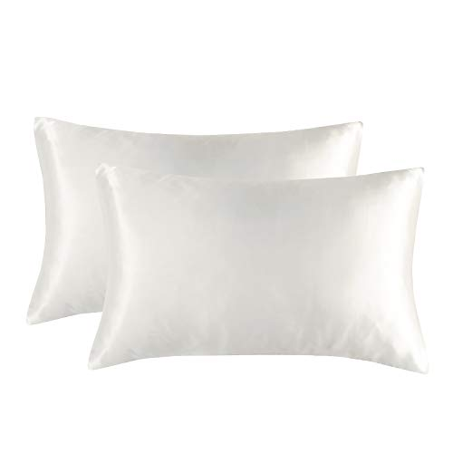 Paquete de 2 fundas de almohada de seda de simulación para cabello y piel con cremallera oculta, hipoalergénica, funda de almohada de satén suave, varios tamaños a elegir (blanco, 20 x 40)