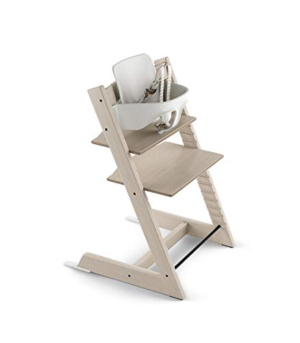 Tripp Trapp by Stokke Adjustable Whitewash Baby High Chair (Includes Baby Set with Harness)