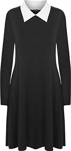 WearAll - Übergröße Kragen Langarm Plain-Schwingen-Kleid - Schwarz Weiß - 44-46