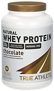 True Athlete Natural Whey Protein Chocolate, 20g of Protein per Serving Probiotics for Digestive Health, Hormone Free NSF Certified for Sport (2.5 Pound Powder)