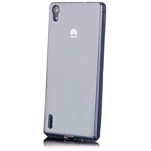 Huawei Ascend P7 | iCues Transparent TPU Case Klar | [Display Schutzfolie Inklusive] Transparent Klarsichthülle Durchsichtig Klare Klarsicht Silikon Gel Schutzhülle Hülle Cover Schutz