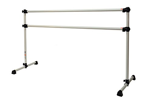 Vita Vibe Boost Series 4 FT Double Aluminum Freestanding Ballet Barre Stretch/Dance Bar (DoveGray)