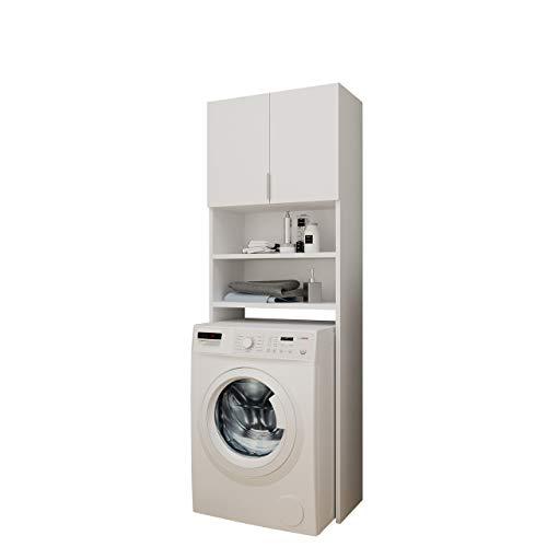 Mirjan24 Badezimmerschrank für die Waschmaschine Mosa, Waschmaschinenschrank, Badhochschrank, Badschrank, Badregal (Weiß)