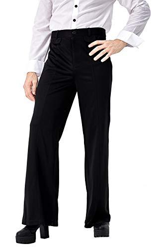 Ya-cos Men's Disco Pant Retro 70's Disco Pants Trousers Bell Bottoms (Medium (Waist:30'), Black)