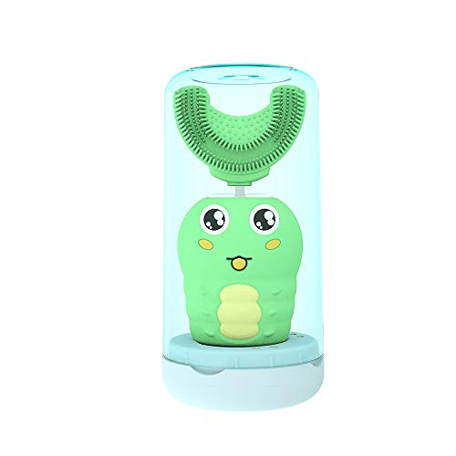Automatic Electric Toothbrush Kids Wireless Charging Autobrush Toothbrush with U Shaped Brushes Smart Timer IPX7 Waterproof for Toddler amp Child Aged 26 CaterpillarGreen