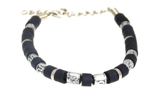 Neptune Giftware Surf Surfer Noir & Couleur Argent Bracelet perle Bracelet Perles - A