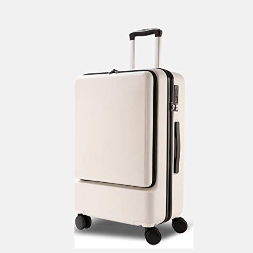 Mdsfe 20 inch 24 inch laptop pocket luggage bag hard ABS PC travel business trolley cabin suitcase - white trolley, 20'