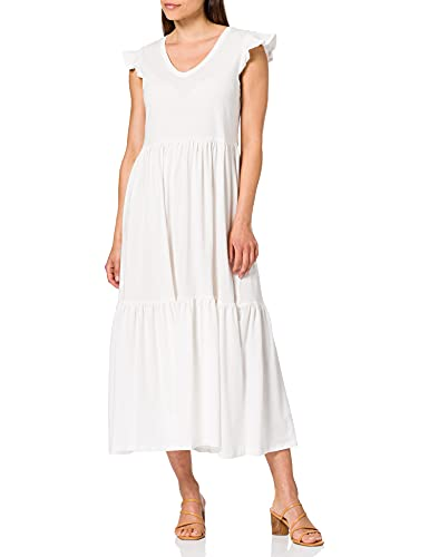 Only Onlmay Life S/S Frill Calf Dress Jrs Vestito, Bianco (Cloud Dancer), L Donna