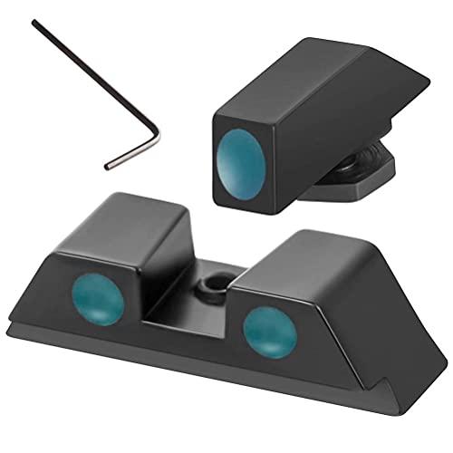 Hosuho Taktische Glasfaser-Visiere vorne und hinten, leuchtende Punkte, Nachtsicht, Aluminium-Legierung, Zielfernrohr mit Innensechskant-Wreanch, Outdoor-Jagd-Zubehör, kompatibel für Glock