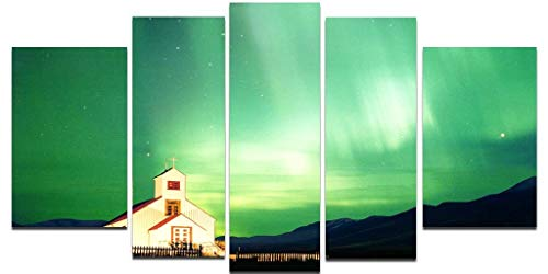 Startonight Stampa su Vetro Acrilico Aurora boreale,Novitá Quadro Design Moderno Arredamento Pronto da Appendere 90 x 180 CM