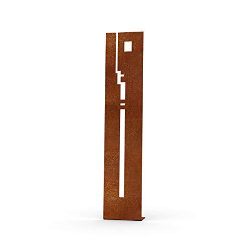 MEILLER MetallDesign | Stele Bauhaus II aus Metall für die Gartendekoration (Cortenstahl) 120 cm zum Aufdübeln