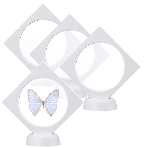 4PCS Dndo White 3D Floating Display Case Holder, 3.5x3.5x0.8 Challenge Coin Display Frame Clear Box, Artefacts Chip Display Stand Holder for Gems, Chip, Championship Ring, AA Medallion, Jewelry, Pin