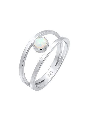 Elli Ring Damen Bandring Zweireihig Synthetischer Opal in 925 Sterling Silber