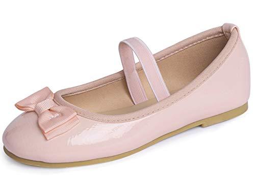 Dancina Ballerina - Scarpe basse da bambina, chiuse con cinturino e fiocco, Rosa (Vernice rosa chiaro.), 34 EU