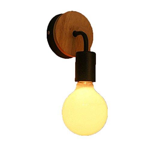 Pouluuo Nordic moderne minimaliste en bois massif fer forgé chambre chevet petite lampe de mur salon luminaires mis en