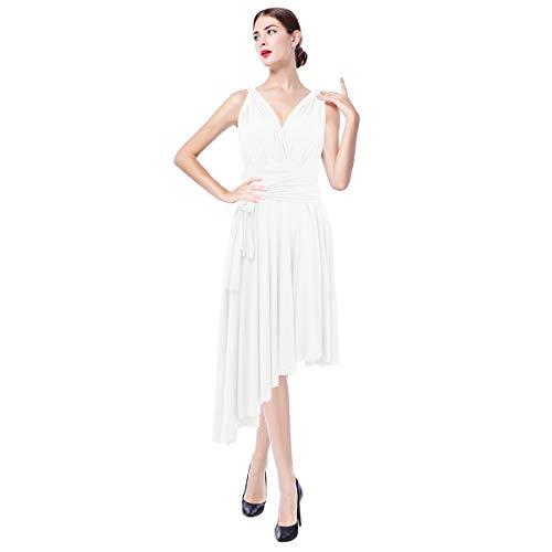 FYMNSI Damen Multiway Kleid Brautjungfernkleid Wickelkleid Hochzeitskleid Asymmetrisches Saum Brautkleid V-Ausschnitt Rückenfrei Neckholder Festlich Abendkleid Elegant Cocktailkleid Weiß L