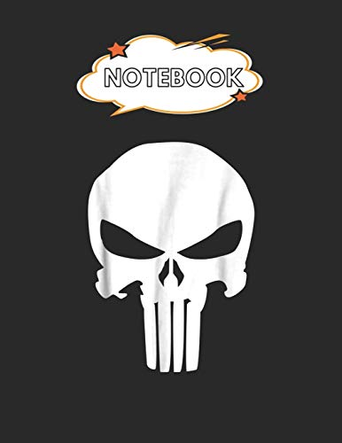 Notebook: Marvel Punisher Classic Skull Symbol Graphic Blank Comic Notebook for Kids...