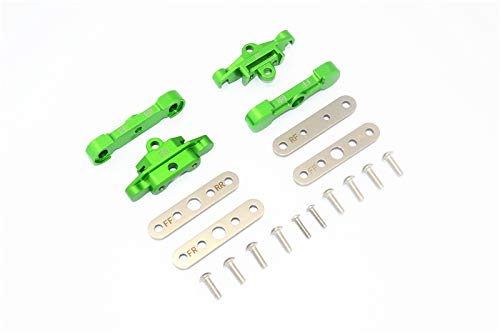 GPM TRAXXAS-1/10 MAXX Monster TRUCK-89076-4 Aluminum Front+Rear Lower ARM TIE BAR Mount -18PC Set (Green)