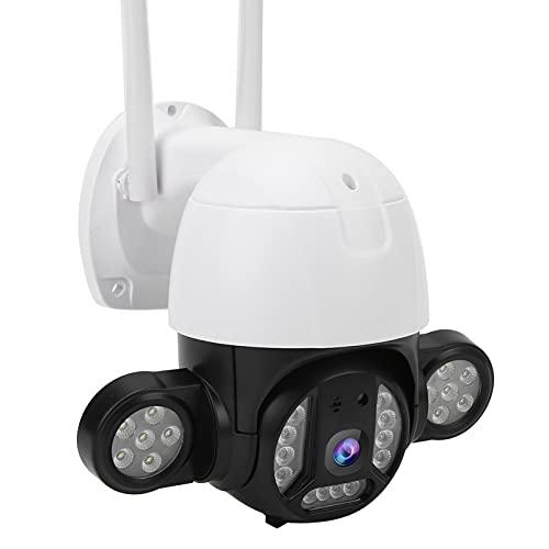 Cámara de seguridad PTZ de 3mp para exteriores con 24 luces, giro de 330 ° Ip66 Detección inteligente de humanos a prueba de agua, intercomunicador de voz, alarma de detección de punto(EU)