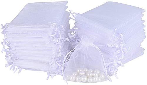 50 Bolsas de Organza Blanca con Cierre de Lazos (11x14) para Guardar Detalles de Bodas, comuniones, bautizos. para Dulces, Caramelos o pequeños Detalles.