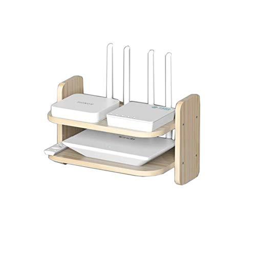 JCNFA-BOEKENPLANK Massief Houten Gebogen Set-top Box Rack, Wifi Router Magazijnstelling, Woonkamer TV-wand Plank, Projector Plank, Hout Kleur/Wit (Color : Wood, Size : 32.5 * 20 * 20cm)