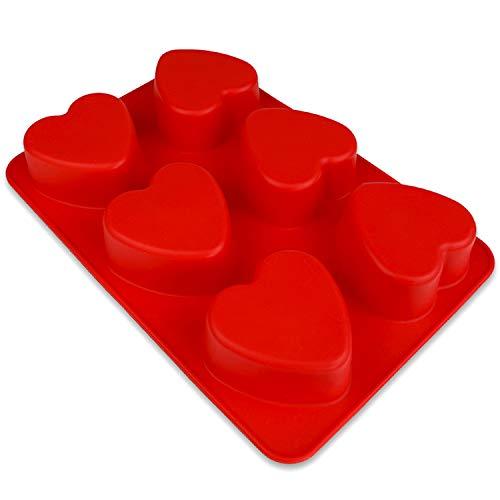 BlueFox Muffinform mit Herzen - 27 x 28,5 x 3,5cm - Backform - Silikonform - Backform Weihnachten, Liebe - Silikonherzbackform - Cupcakeform - Kleine Kuchenform in 3D - Rot