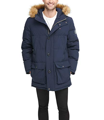Tommy Hilfiger Men's Arctic Cloth Full Length Quilted Snorkel Jacket (Regular and Big and Tall Sizes), Navy, L