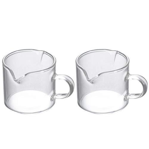 Hemoton 2 Stücke Milchkanne 40ml Milchkännchen Glas Sauciere Soßenkanne Mini Schälchen Dipschalen Kaffeetasse Kleine Servierschalen Saucen Schüssel Milch Krug Sahne Kanne für Kaffee Bacher
