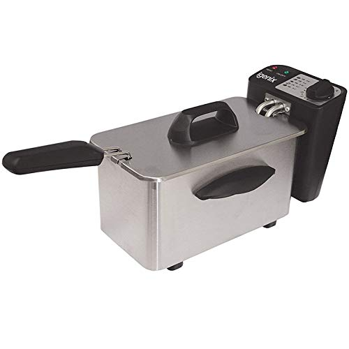 Igenix IG8015 Compact Mini Deep Fat Fryer with Frying Basket and Non Stick Inner Bowl for Easy Cleaning, Stainless Steel, 1.5 Litre Capacity