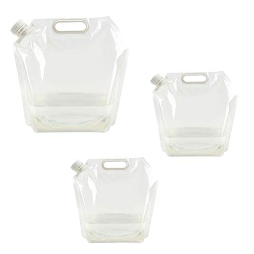 Cabilock 5L Collapsible Water Tank Container 5L Portable Water Carrier Space-Saving Water Bag for Outdoor Sport Hiking Camping Travel (Clear)