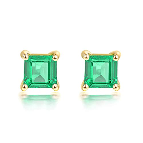 Bishilin Pendientes de Botón Para Mujer Oro Amarillo 18K, 0.7ct Asscher Emerald Aretes Elegante Ajuste Cómodo Pendientes de Botón Para Mujer Boda Regalos Para Cumpleaños Navidad