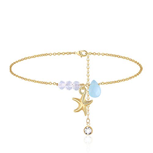 MONOOC Starfish Anklet for Women, Chalcedony Anklet Nautical Beach Anklets Boho Summer Cute Dainty Ankele Bracelets,Gold Anklets for Women Starfish Charm Anklet Gold Filled Anklet Beach Jewelry