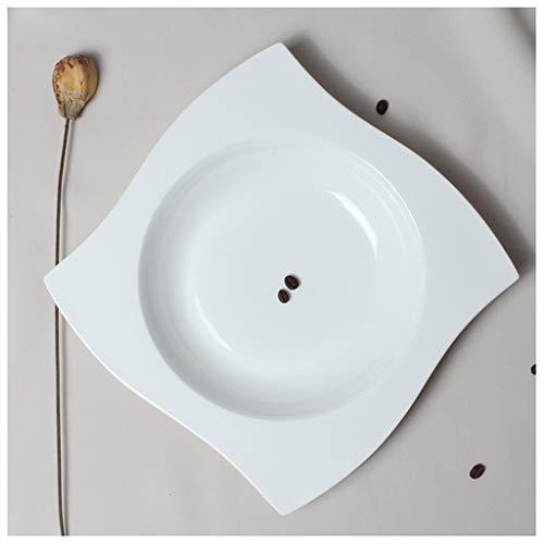 CJW Assiette en porcelaine carrée avec os occidental blanc pur - plat occidental